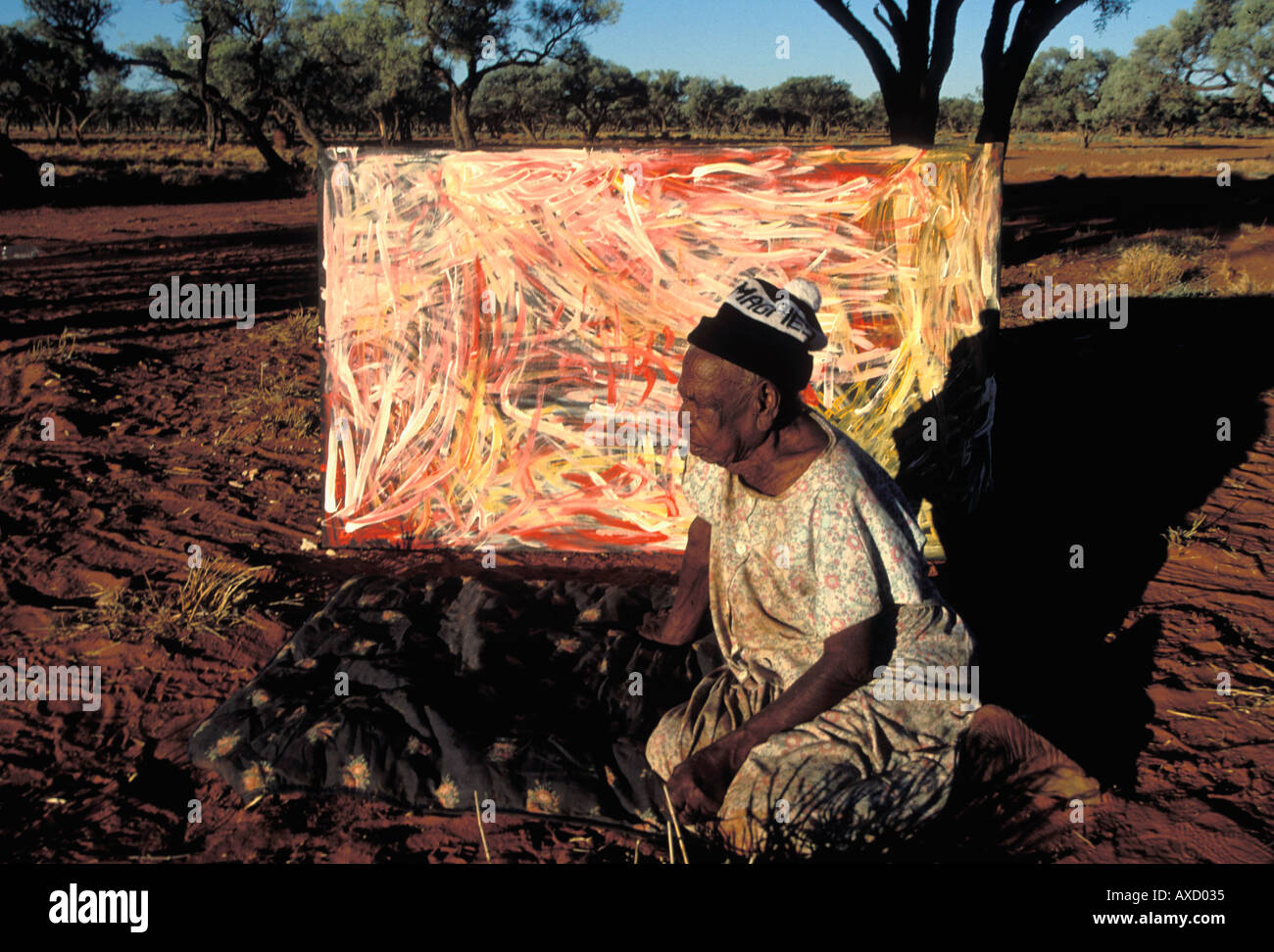 emily kame kngwarreye famous aboriginal artist with one of