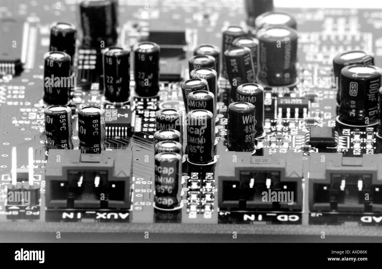 Close up of Computer sound card - Stock Image