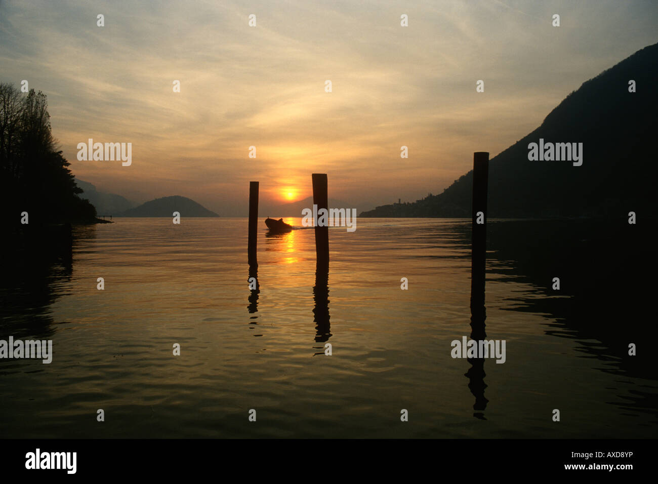 Lago d'Iseo Lombardy Italy View of Lake Iseo and Monte Isola Island - Stock Image