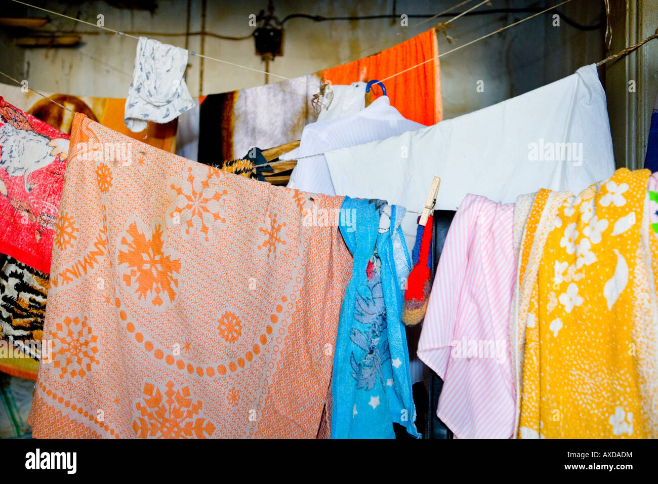 Laundry waits to get dry - Stock Image