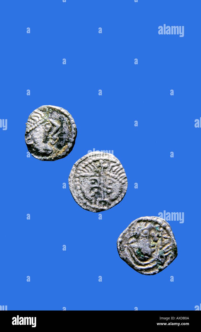 Silver Anglo saxon sceattas. sceats - Stock Image