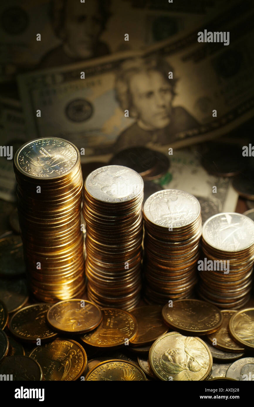 Stacks of coins with US Bank Dollars - Stock Image