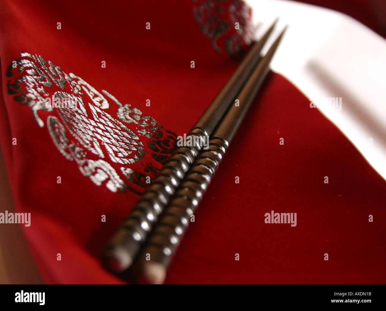 Chopsticks on a plate - formal dinner setting Stock Photo