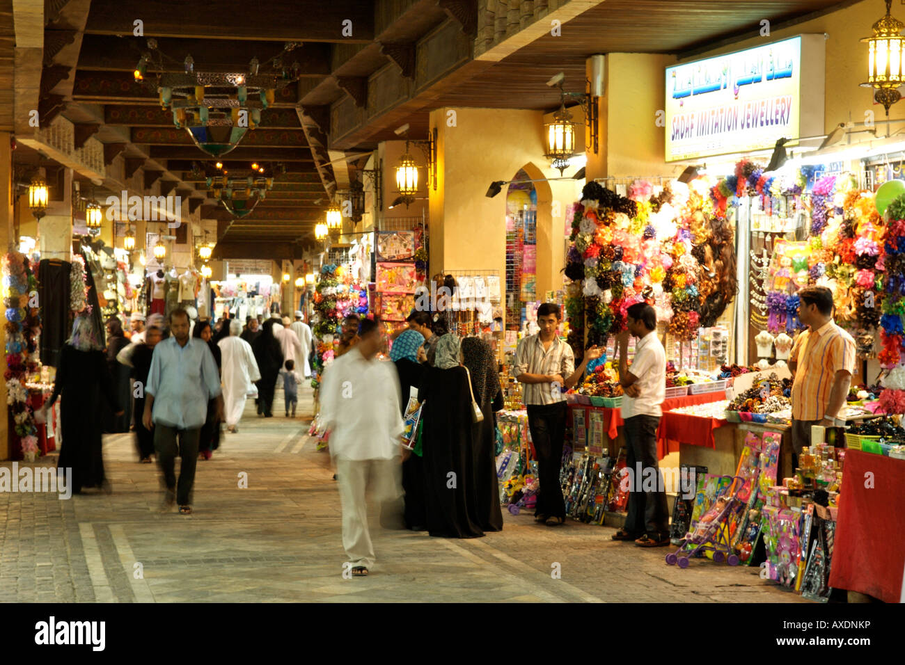 Interior of the Mutrah souk in Muscat, the capital of the Sultanate of Oman. - Stock Image
