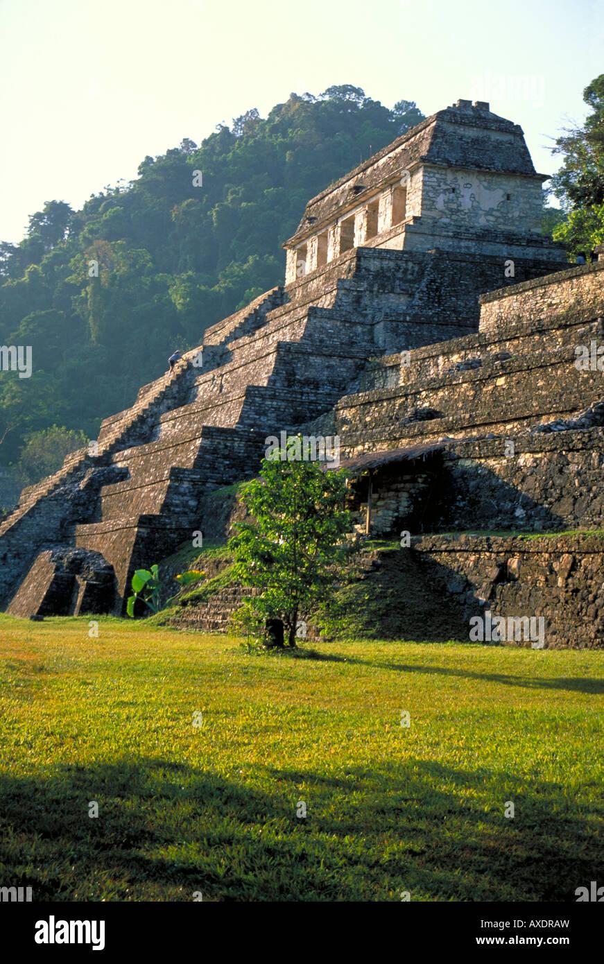 Elk156 2348 Mexico Yucatan Palenque Chiapas Mayan site 600-900 Temple of the Inscriptions - Stock Image