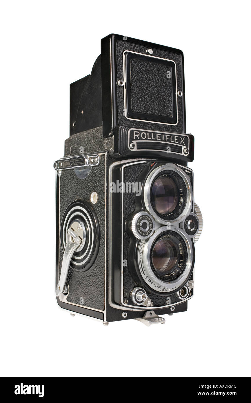 A Rolleiflex 3.5E Planar TLR camera with viewing hood open This is a workhorse camera not a collectors specimen Stock Photo