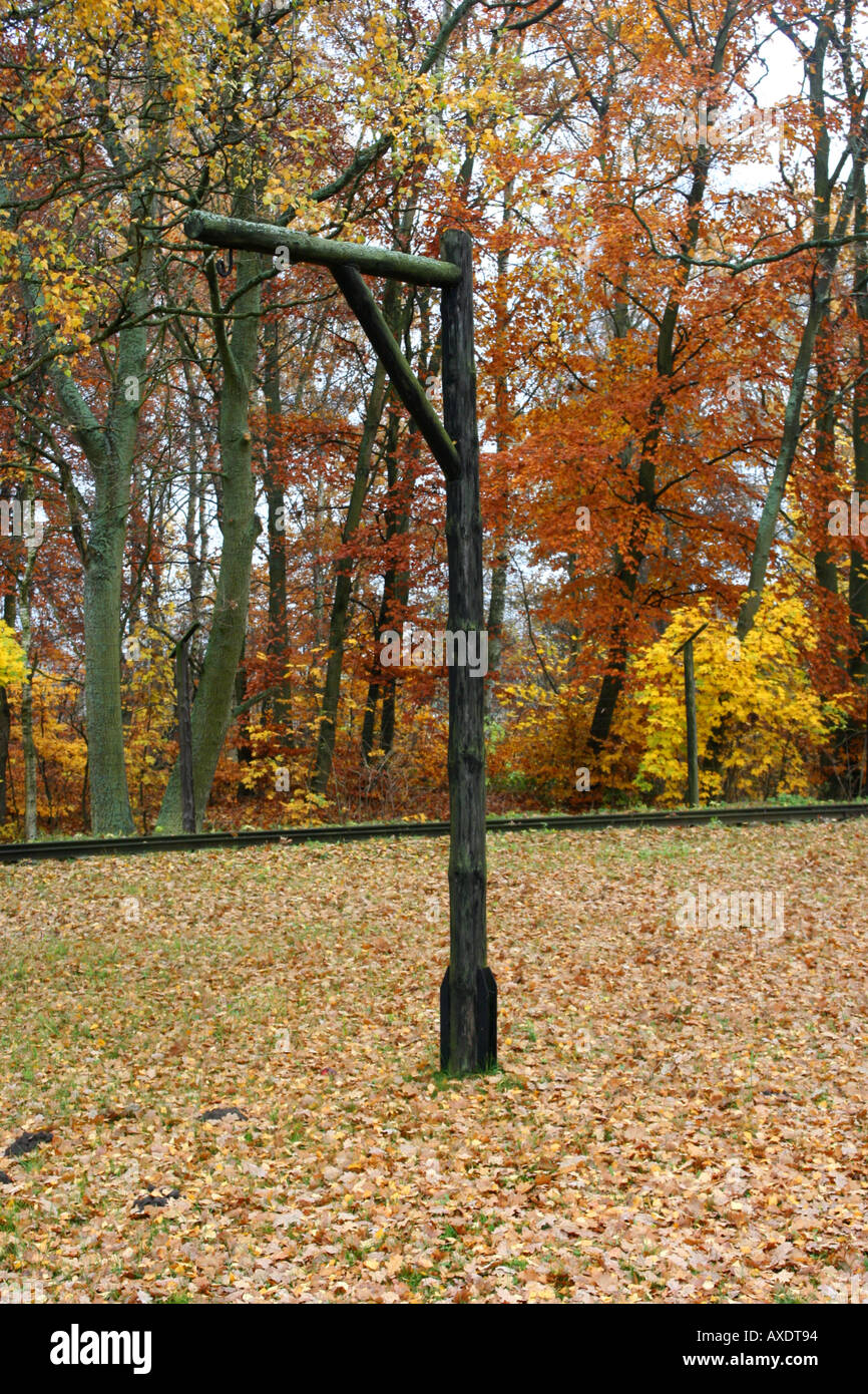 Gallows in  Stutthof Concentration Camp - Stock Image