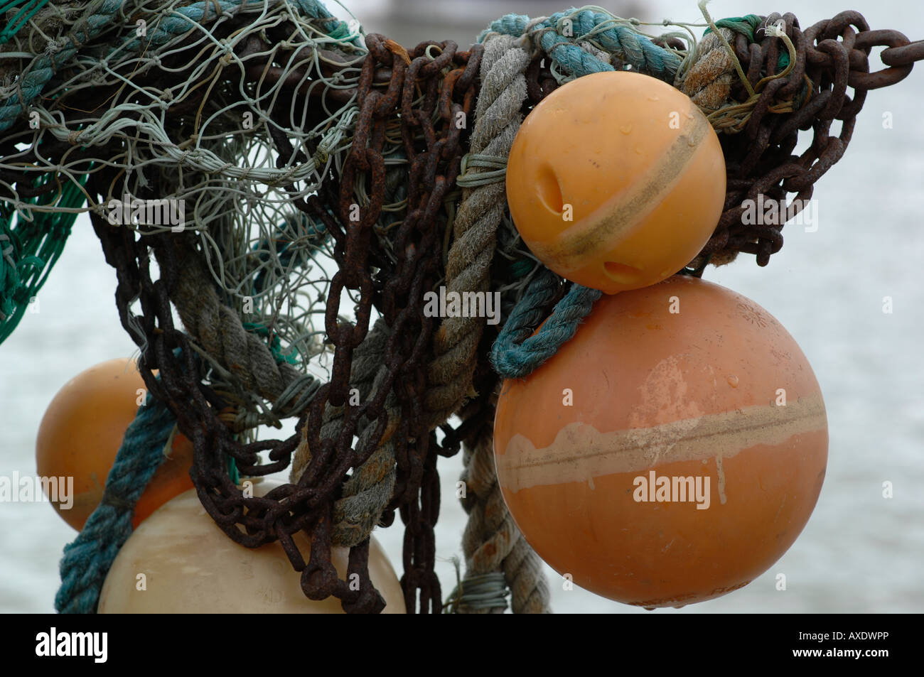 Fishing nets Folkestone harbour Kent England UK - Stock Image