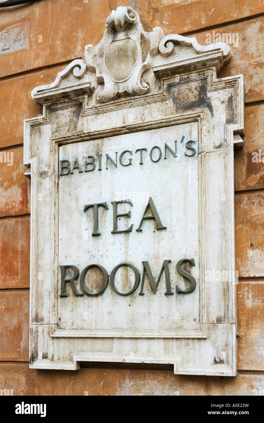 Sign for Babingtons Tea Rooms near the Spanish Steps, Historic Centre, Rome, Italy - Stock Image