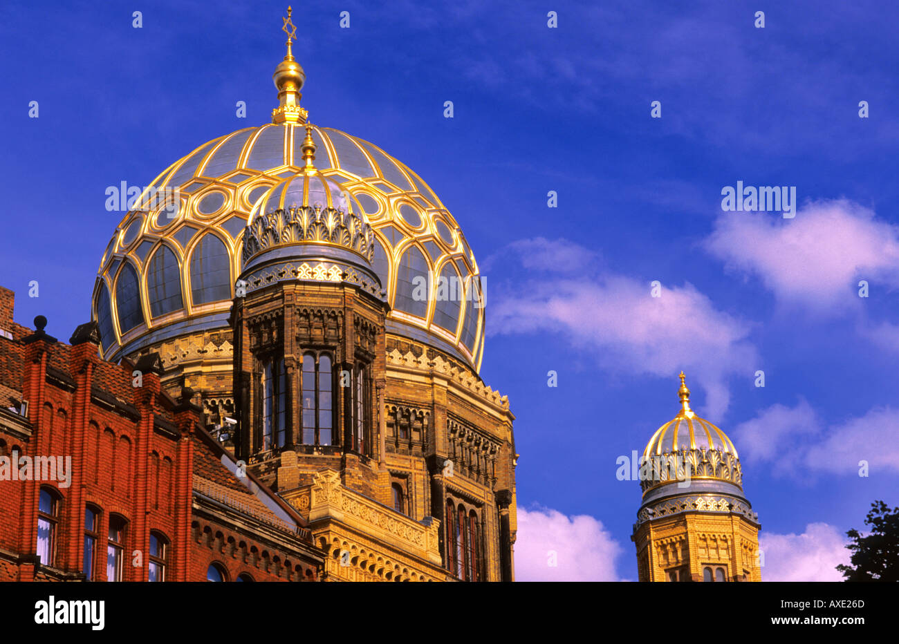 Golden dome of Synagogue Oranienburger Strasse Berlin Germany - Stock Image