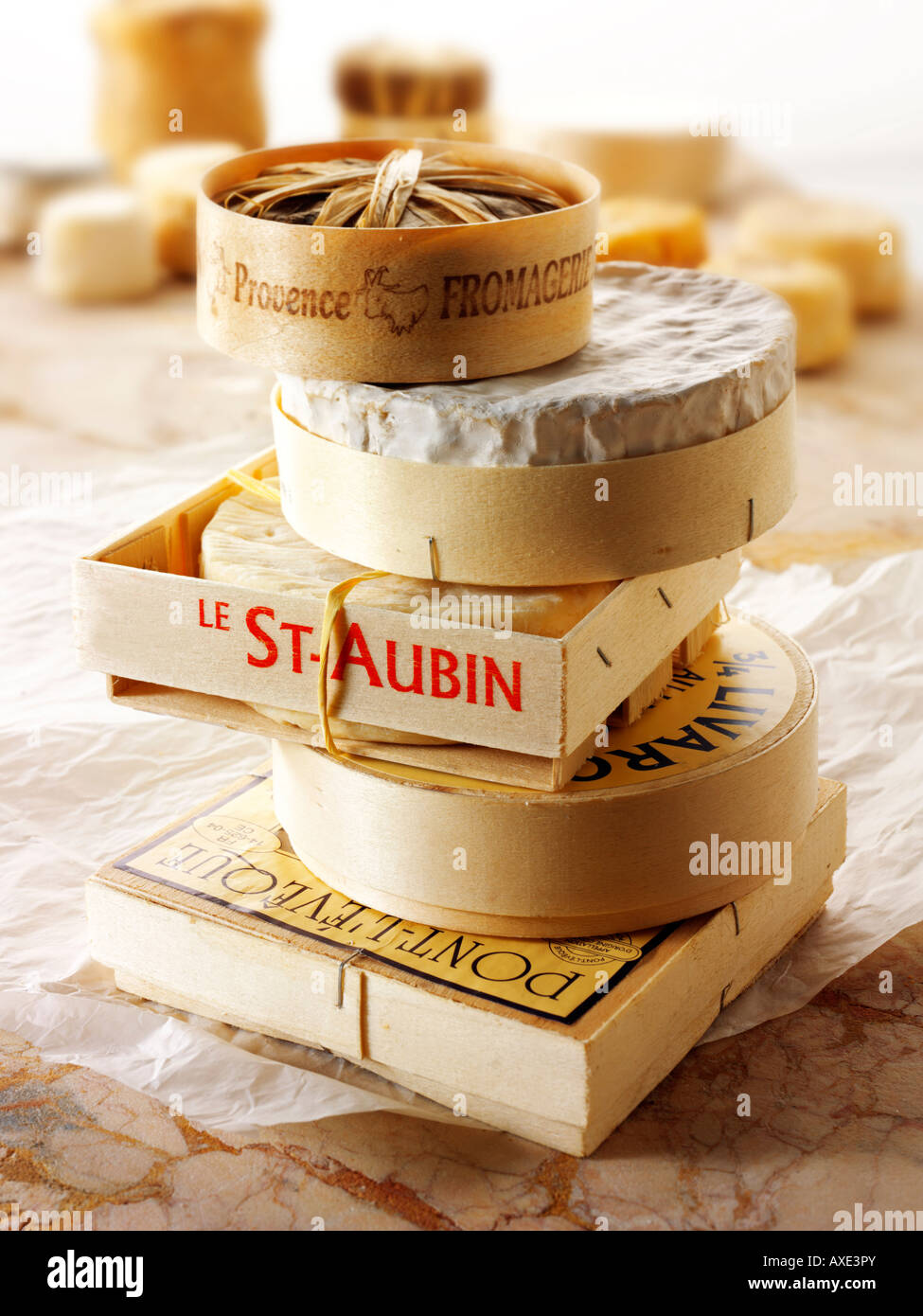 Traditional soft French cheeses - St Aubin, Camembert, Bannon, Pont L'eveque and Liverac Stock Photo