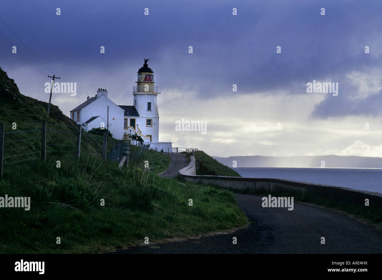 Holborn Head Lighthouse, Scrabster, Caithness, Scotland, on a stormy day - Stock Image