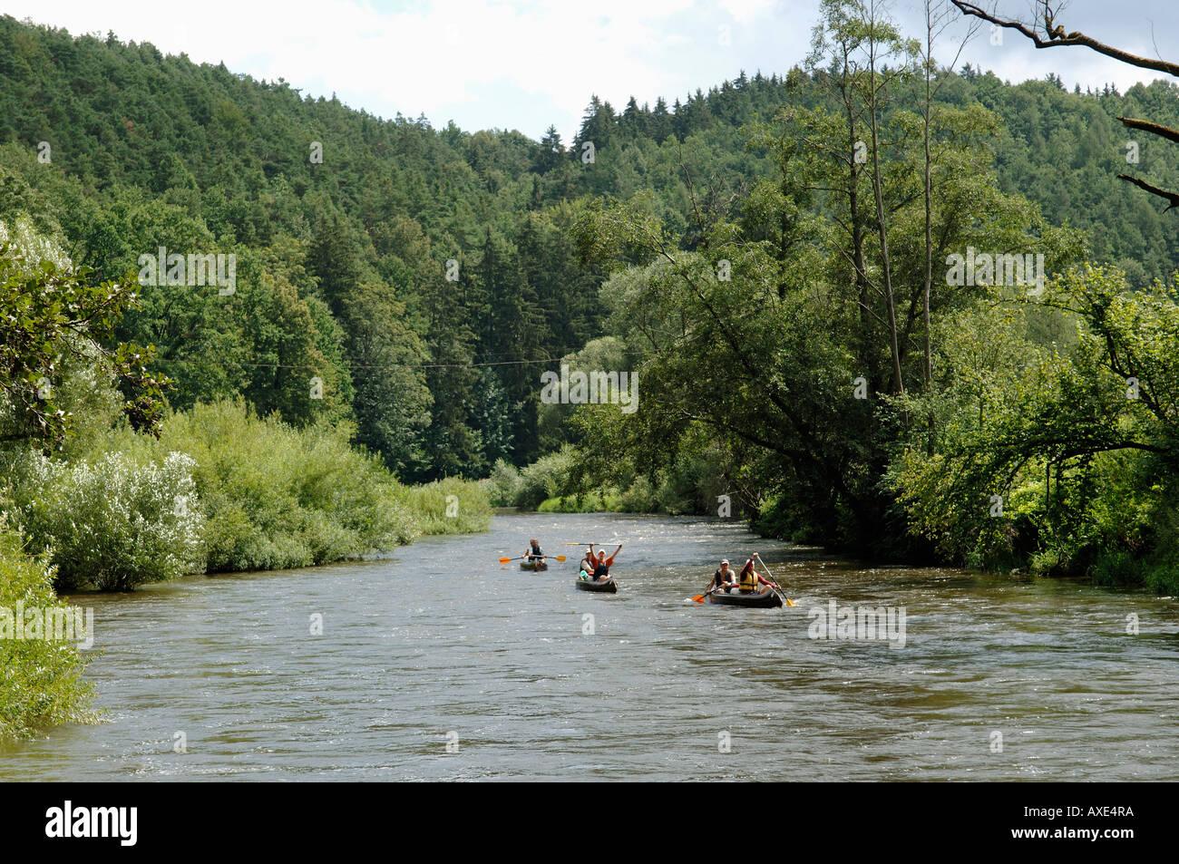 Boats on the Vltava river near Zlata Koruna, South Bohemia, Czech Republic - Stock Image