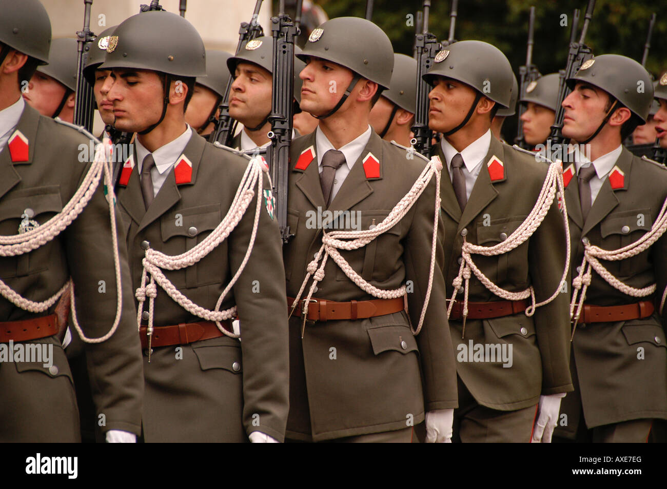 Austria Vienna Heldenplatz Heroes Square Army Honor Guard for visiting generals - Stock Image