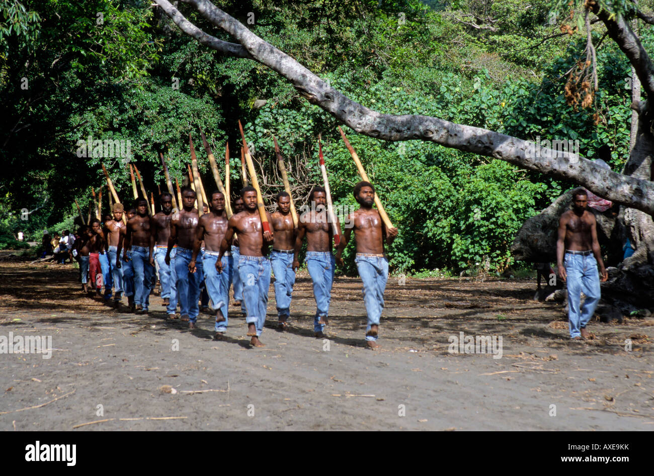 Tanna island, Sulphur Bay village, Vanuatu - Tannese army of the John Frum Cargo Cult movement parade - 15th Feb - Stock Image