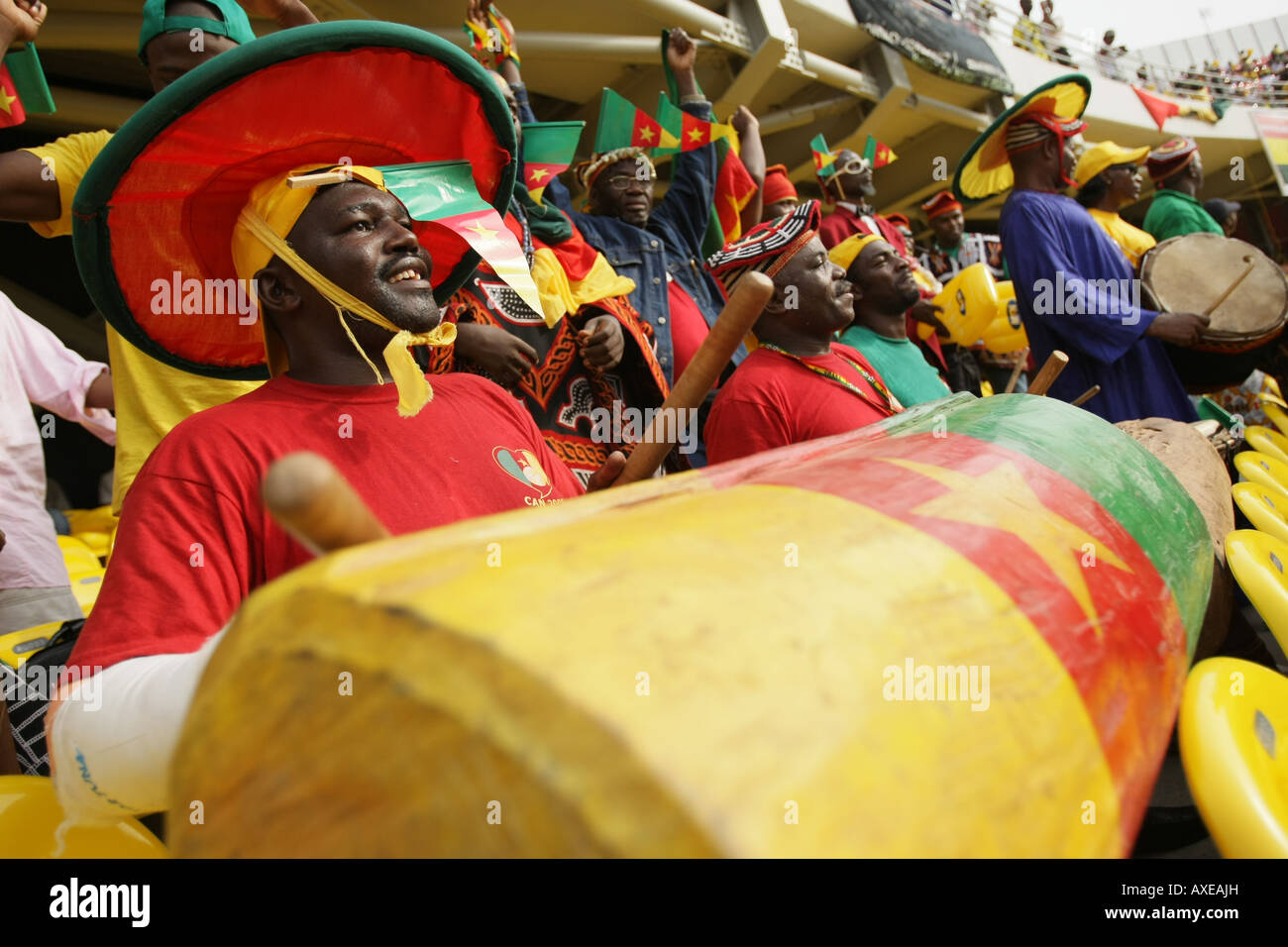 Cameroon football fans, Africa Cup of Nations 2008 - Stock Image