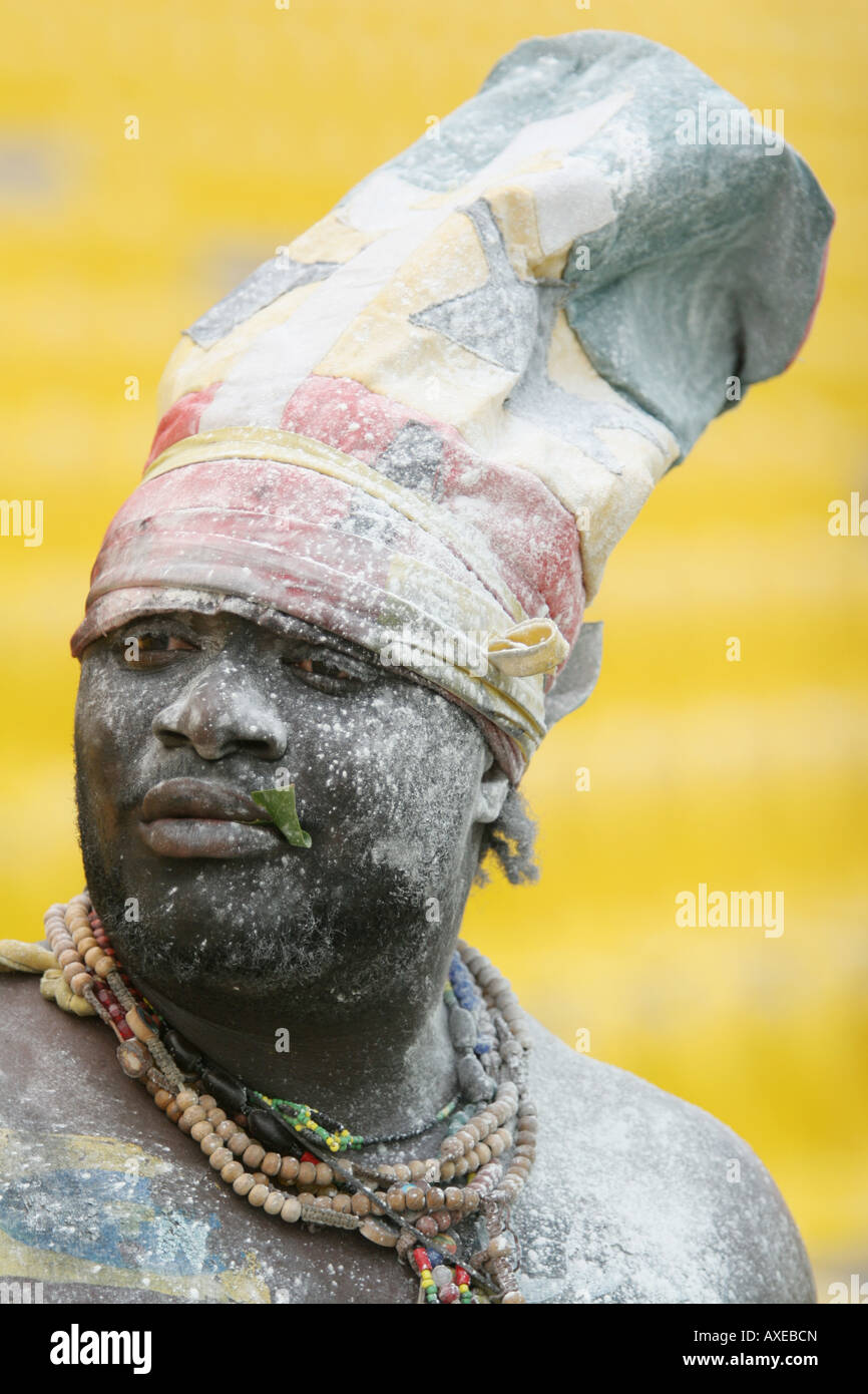 A supporter of the Ghana national football team with his face covered in talcum powder - Stock Image