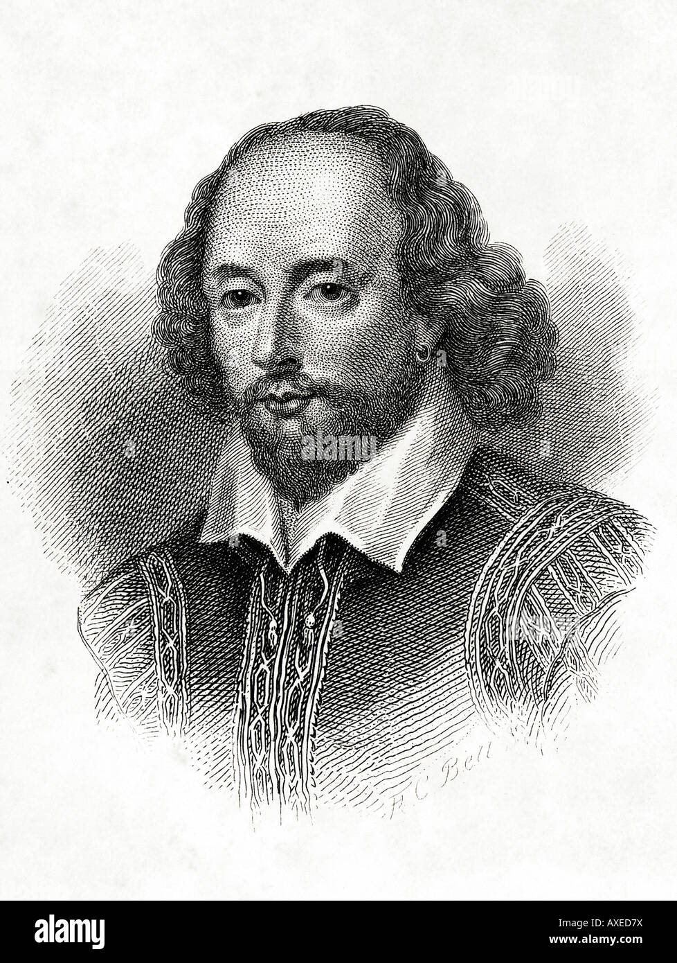 Victorian Etching of William Shakespeare EDITORIAL USE ONLY - Stock Image