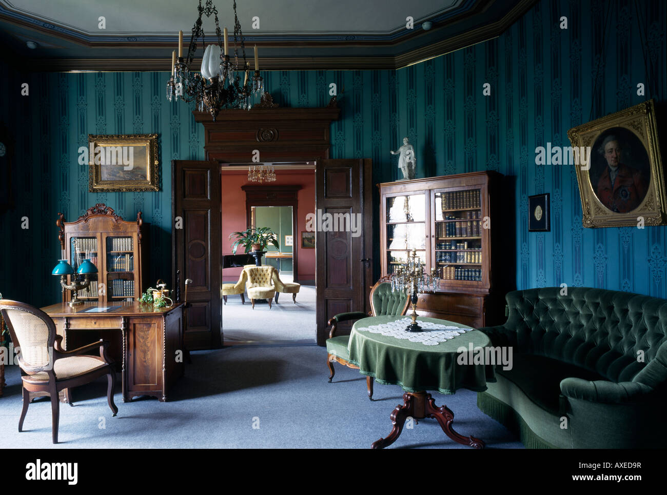 Eisenach, Reuter-Villa, Arbeitszimmer und Salon Stock Photo