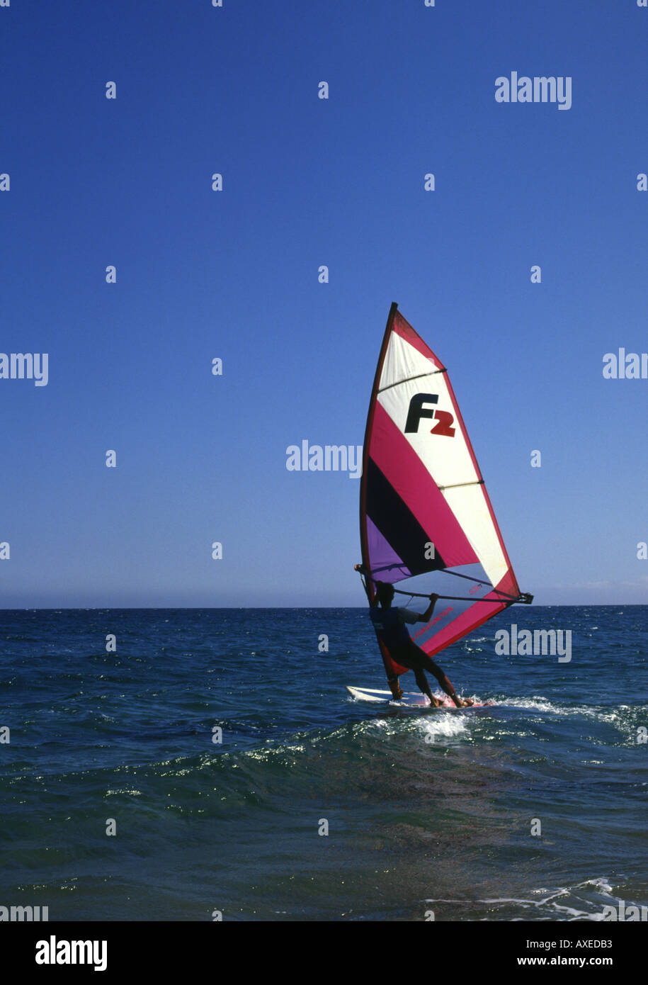 dh Wind surfer PLAYA GRANDE LANZAROTE Red F2 sailing windsurfer