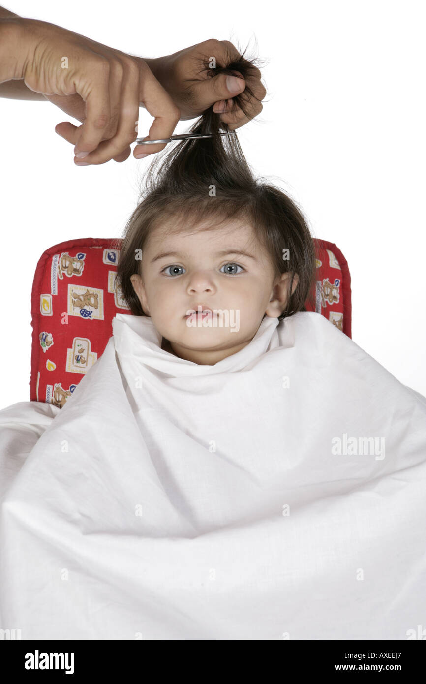 Portrait Of A Baby Girl Getting A Hair Cut Stock Photo 9611430 Alamy