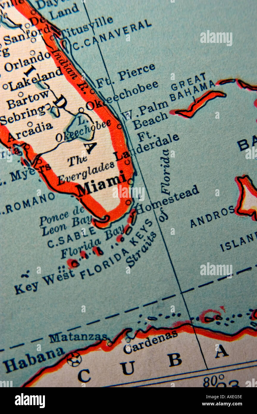 Map Of Florida Keys And Miami.Miami And The Florida Keys On An Antique Map Stock Photo 5490781