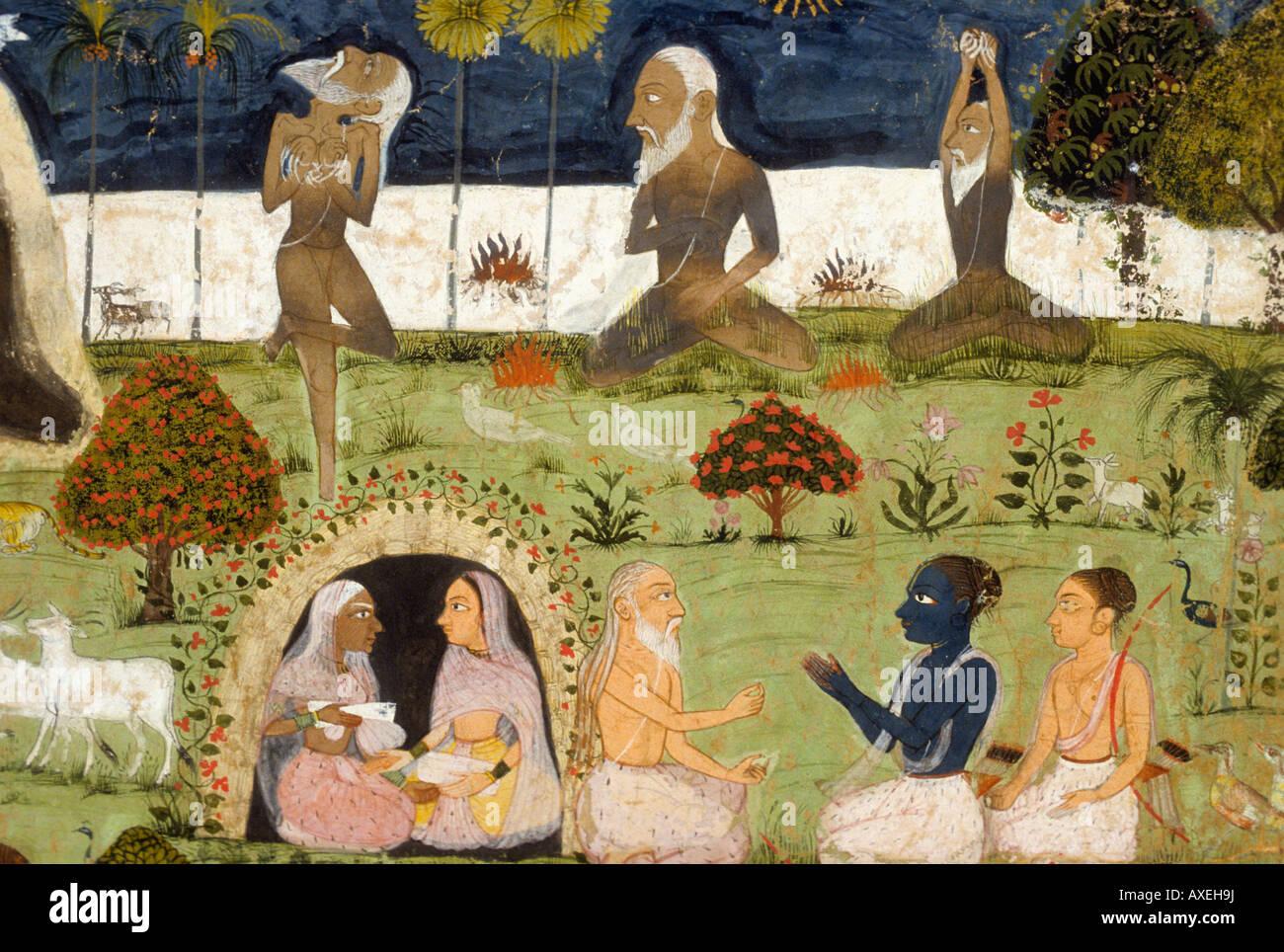 Rama and Lakshmana circa1755 CE Kanoria. Mewar Indian miniature painting, Rajasthan India - Stock Image