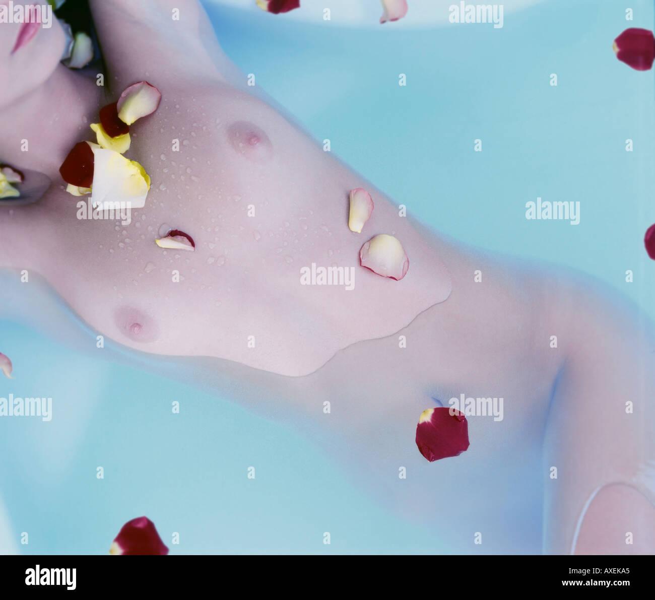 woman female girl age 25 30 young lie slim fit wash bathe bath bath ...