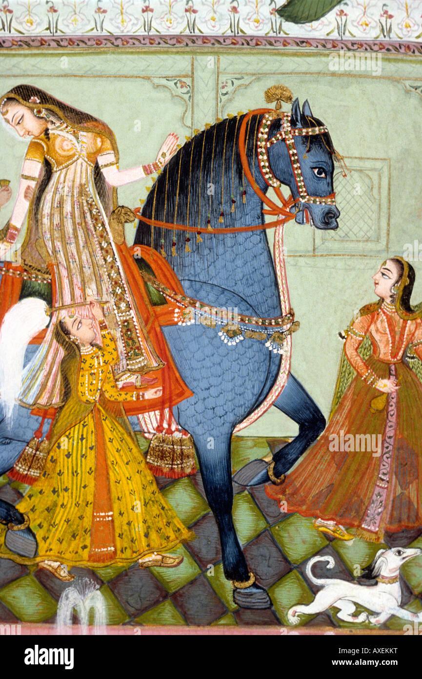 Kotah India Woman Riding Horse C 1775 Kanoria Indian Miniature Stock Photo Alamy