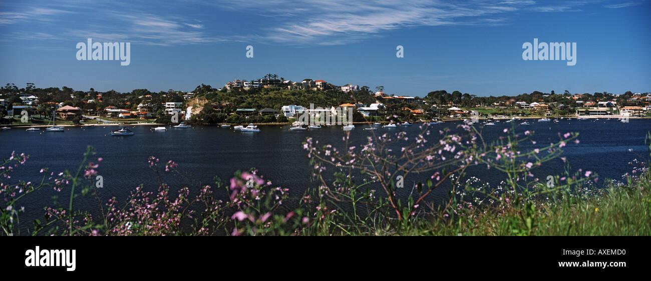 View across lower Swan River Mosman Park Perth Western Australia Panoramic - Stock Image