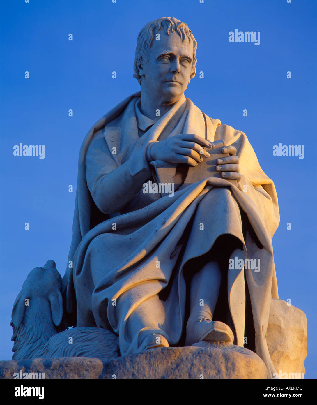 Statue of Sir Walter Scott at the base of the Scott Monument, Edinburgh, Scotland, UK. - Stock Image