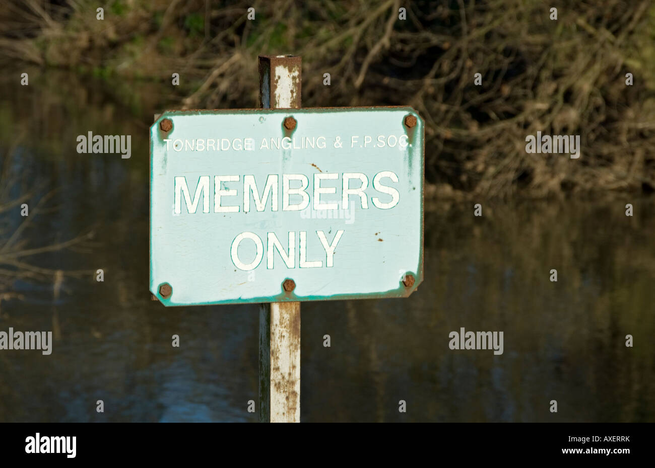 A members only sign for anglers on the River Medway in Kent. - Stock Image