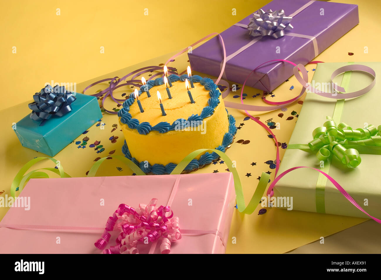 Swell Birthday Cake With Presents And Confetti Stock Photo 5493392 Alamy Funny Birthday Cards Online Sheoxdamsfinfo