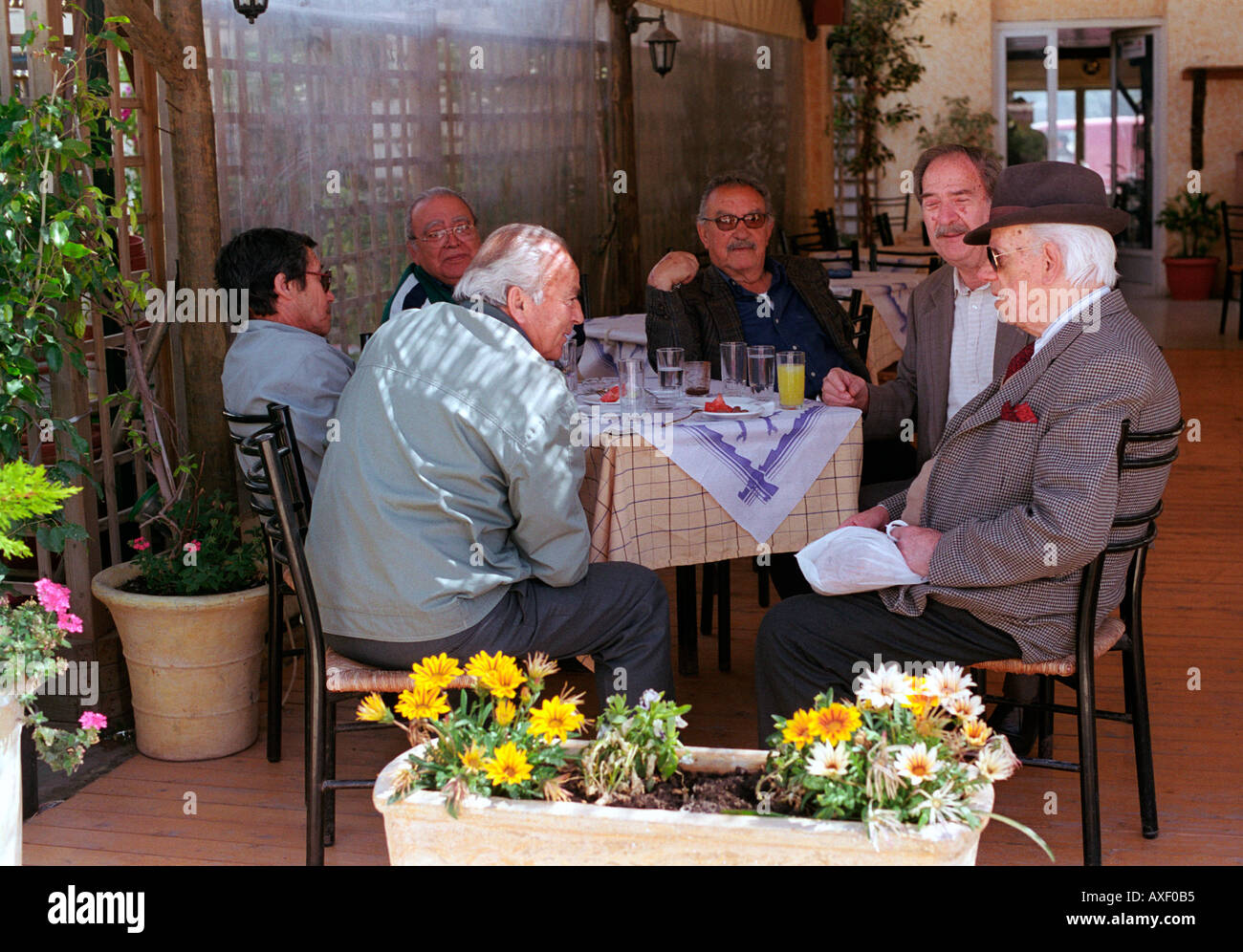 Group of older local men sitting in cafe bar chatting and drinking in Arastoli on Kefalonia Greek Island. - Stock Image
