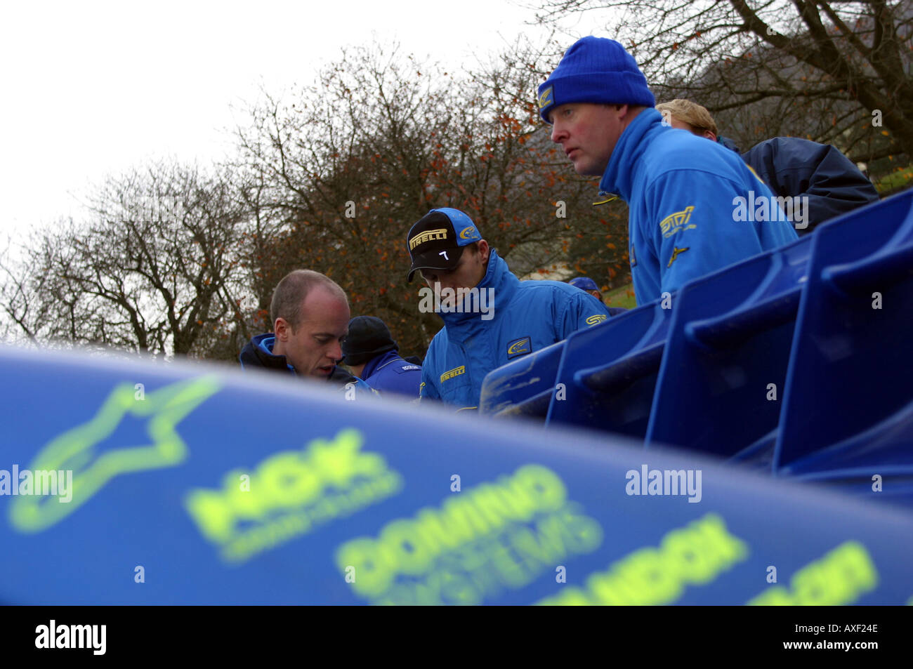petter solberg phill mills and subaru rally team in regroup halt at wales rallyg - Stock Image
