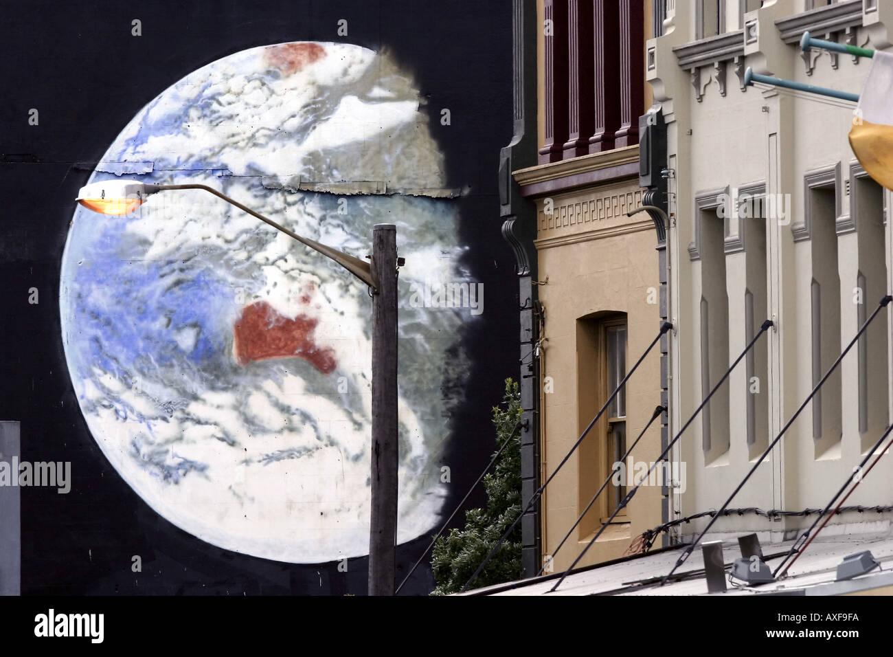 Street mural on King Street Newtown Sydney - Stock Image