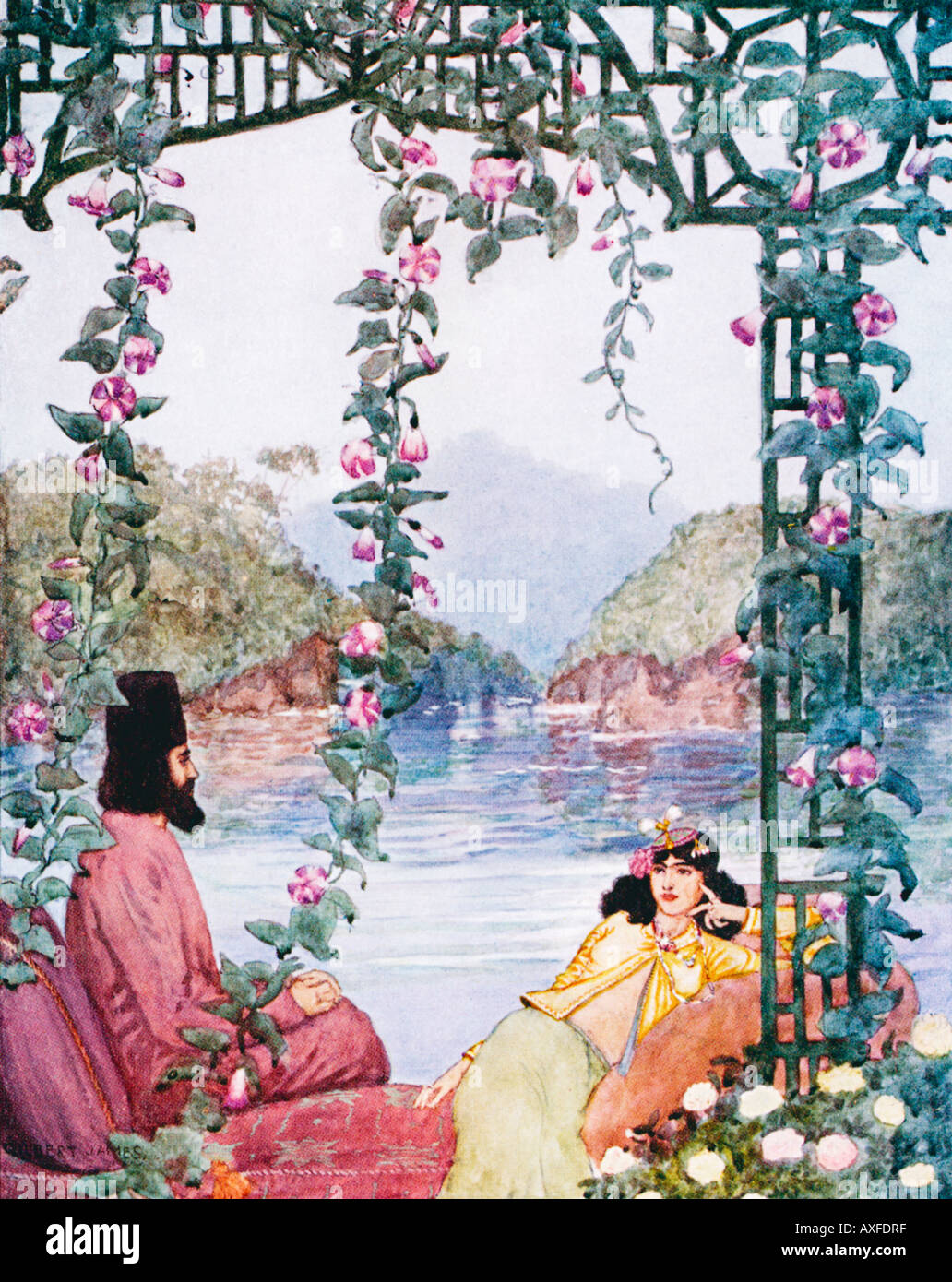 Rubaiyat Omar Khayyam The Garden illustration by Gilbert James from a 1909 edition of the Persian classic - Stock Image