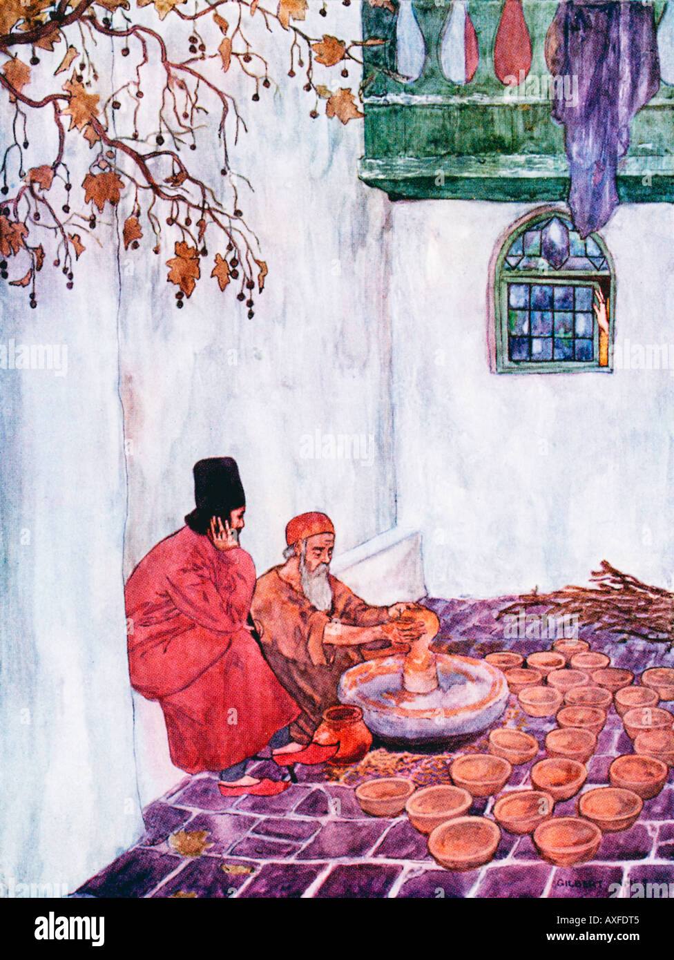 Rubaiyat Omar Khayyam The Potter illustration by Gilbert James from a 1909 edition of the Persian classic - Stock Image