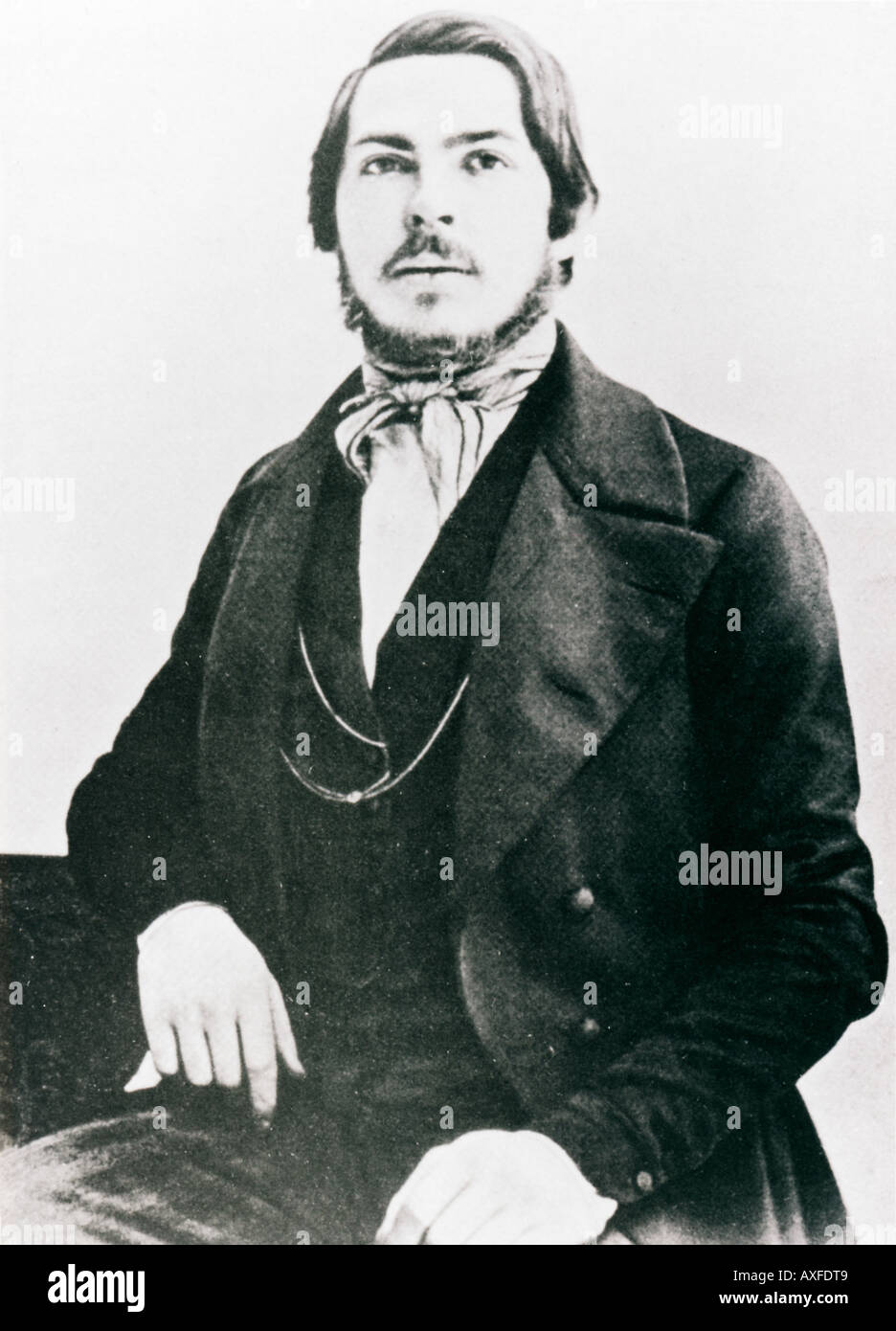 Friedrich Engels, 1845 portrait of the Communist philosopher and patron aged 25 while living and working in EnglandStock Photo