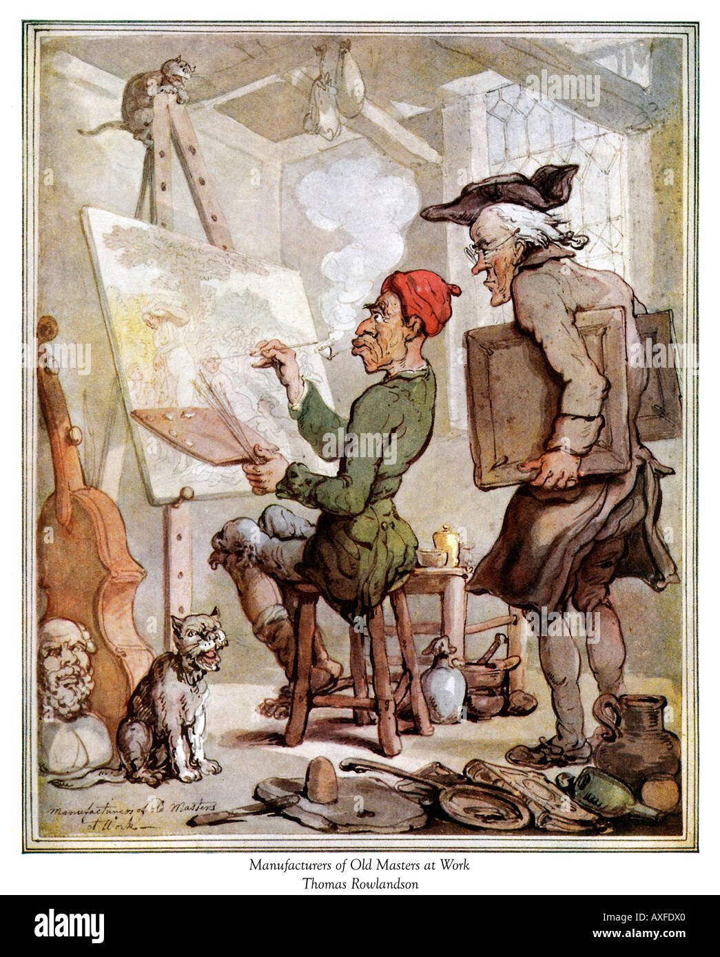 Thomas Rowlandson Manufacturers Of Old Masters Georgian caricature of the studio of art forgers - Stock Image