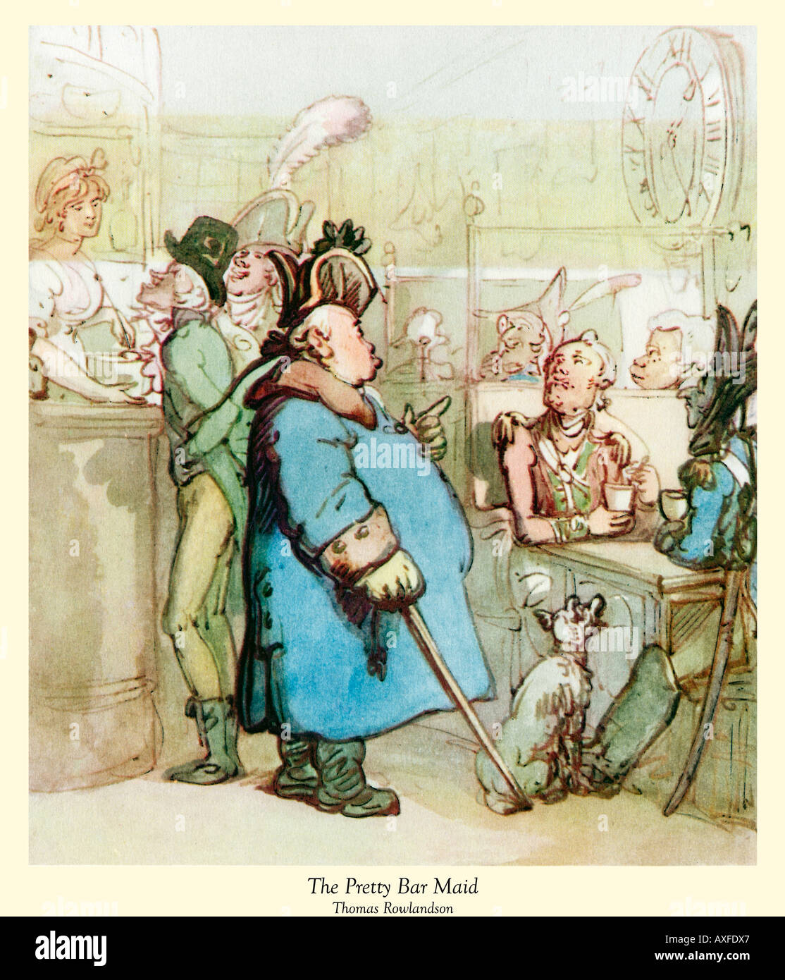 The Pretty Bar Maid Georgian caricature of the habitues of a tavern by the master illustrator Thomas Rowlandson - Stock Image