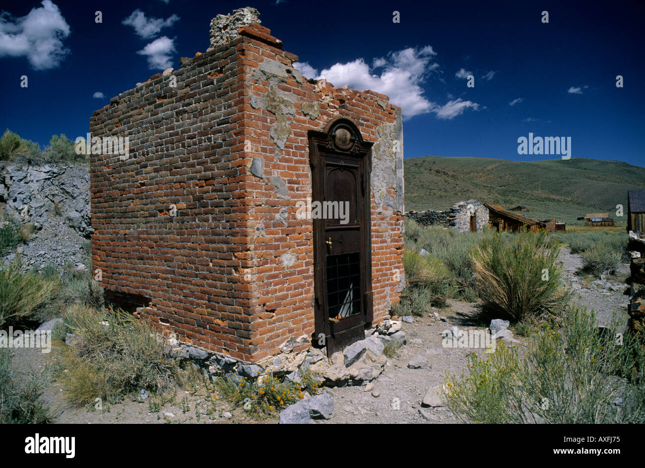 Remains of bank vault at Bodie California USA - Stock Image