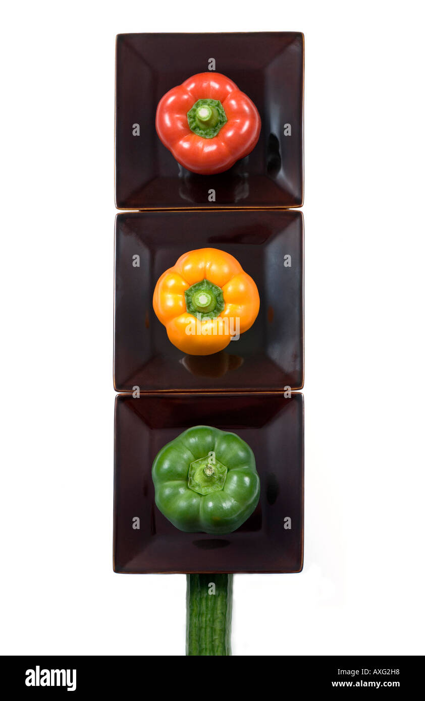 Healthy eating traffic lights play on new food labelling concept - Stock Image