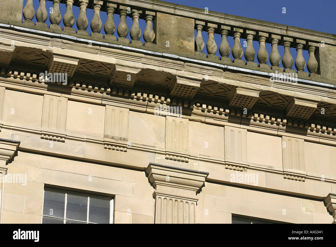 Architectural detail of the entablature at the Crescent Buxton Derbyshire UK - Stock Image