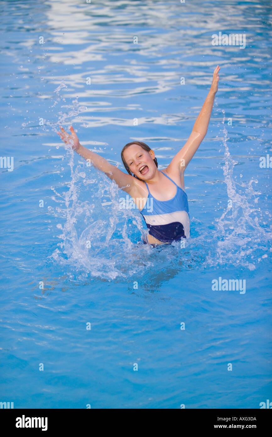 Spain ibiza girl child female stock photos spain ibiza - Swimming pool girl christmas vacation ...