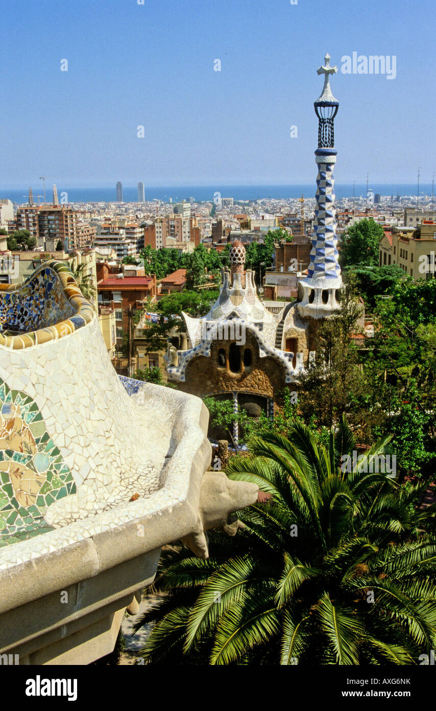 Barcelona city from Park Guell, Barcelona, Spain - Stock Image