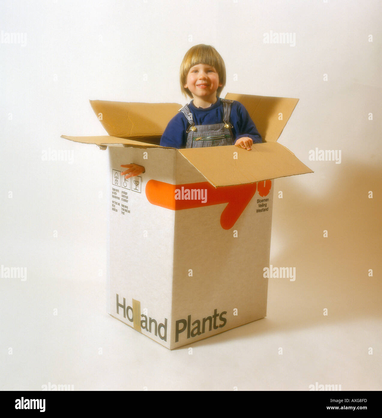child playing and hiding in cardboard box. Photo by Willy Matheisl - Stock Image