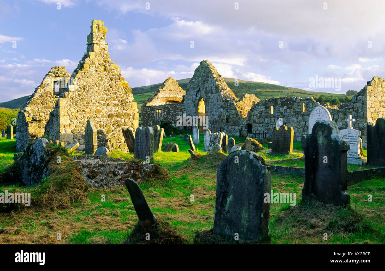 Antrim Ruins of 15C Bonamargy Friary burial place of chieftain Sorley Boy MacDonnell at Ballycastle Co Antrim Northern Ireland - Stock Image