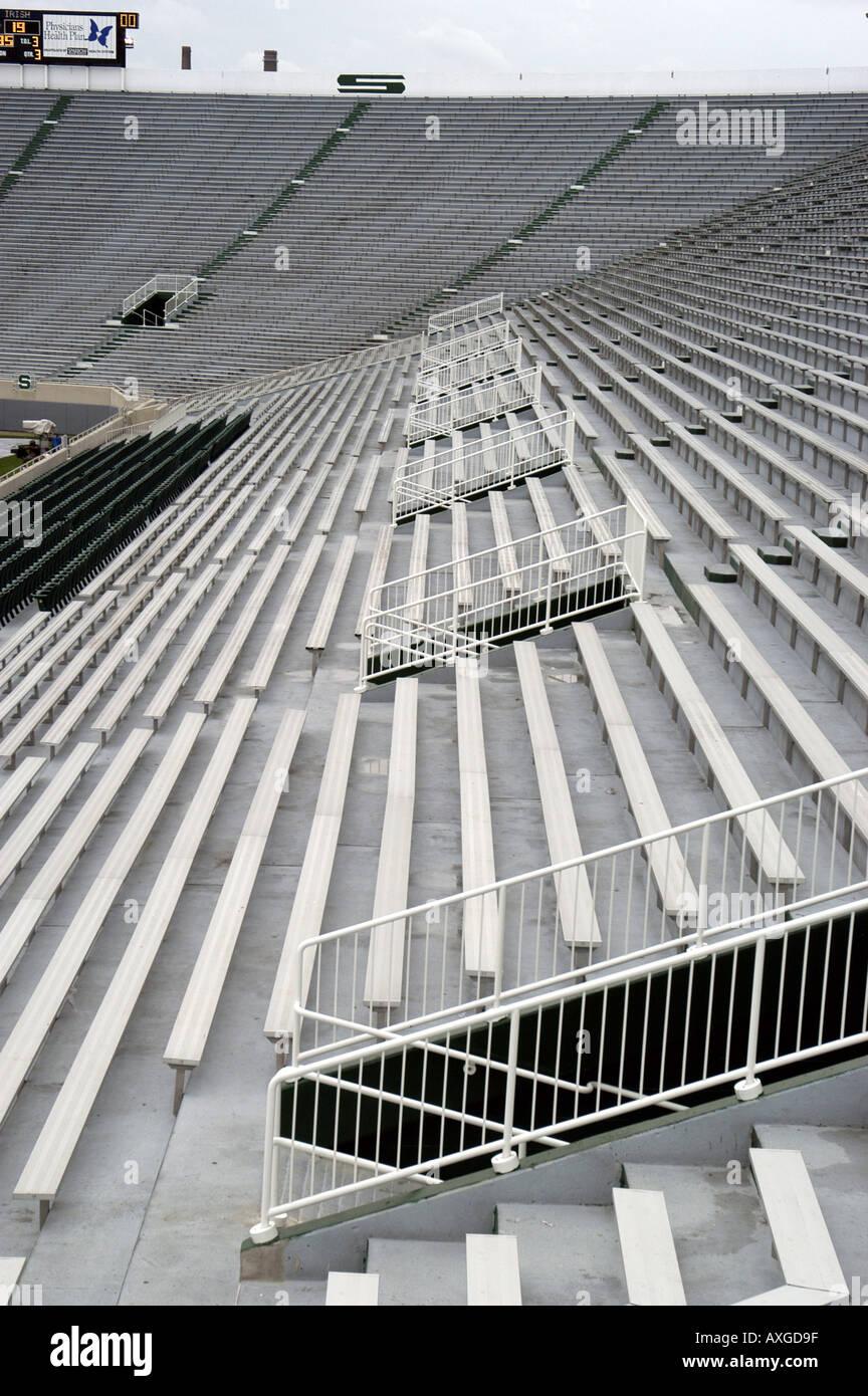 Empty Michigan State University football field or stadium - Stock Image