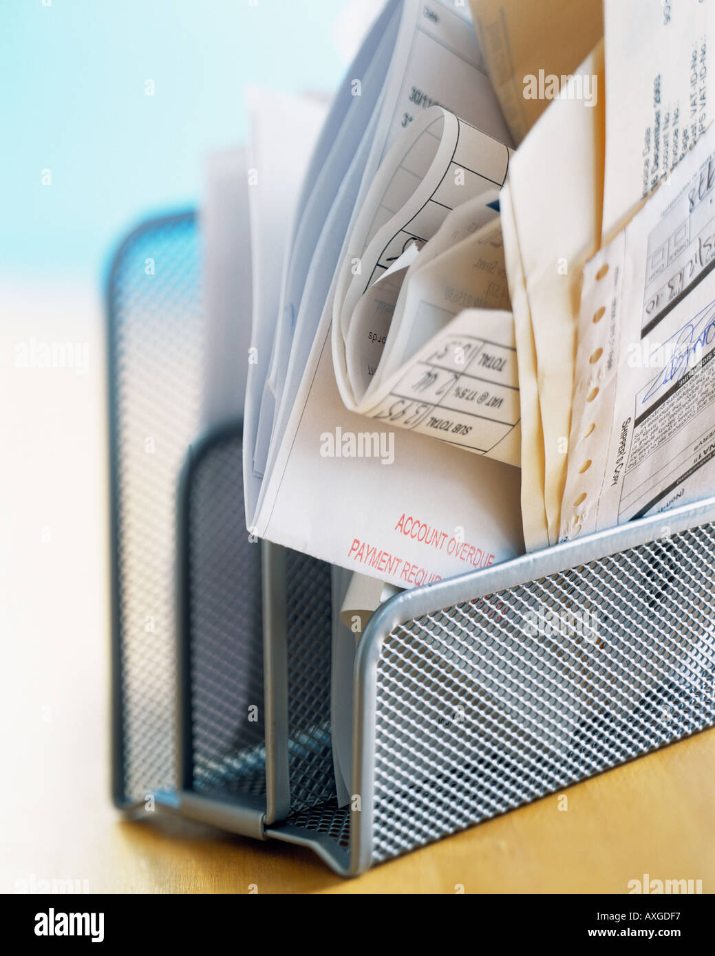 desk finance bills home office payment due debt organized paperwork paper overdue credit invoices pay account filing - Stock Image